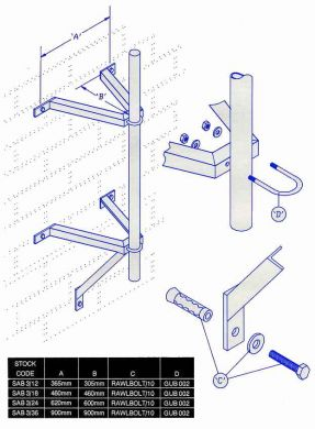 "Galvanised Wall Standoff Brackets Complete with Rawl bolts & U/Bolts (available in 12\"", 18\\\"", 24\\\"")"
