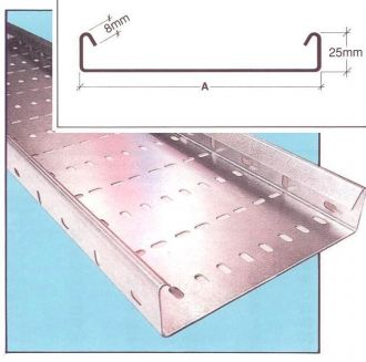 Medium duty galvanised cable tray return flange